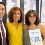 Mar Castro con el CEO de IMF Business School y la directora ejecutiva: Carlos Martínez y Ana Belén Arcones.