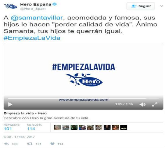 tuit de Hero Baby a Samanta Villar donde la llama acomodada y famosaOP