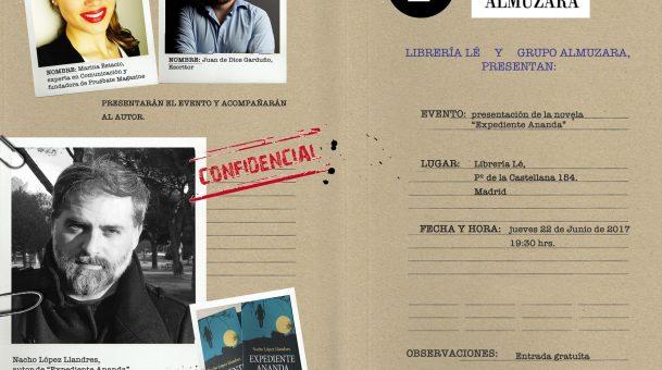 """PRESENTACIÓN """"EXPEDIENTE ANANDA"""": NOVELA ESTREMECEDORA"""